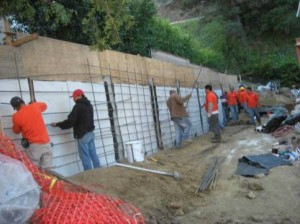 hillside stabilization wall