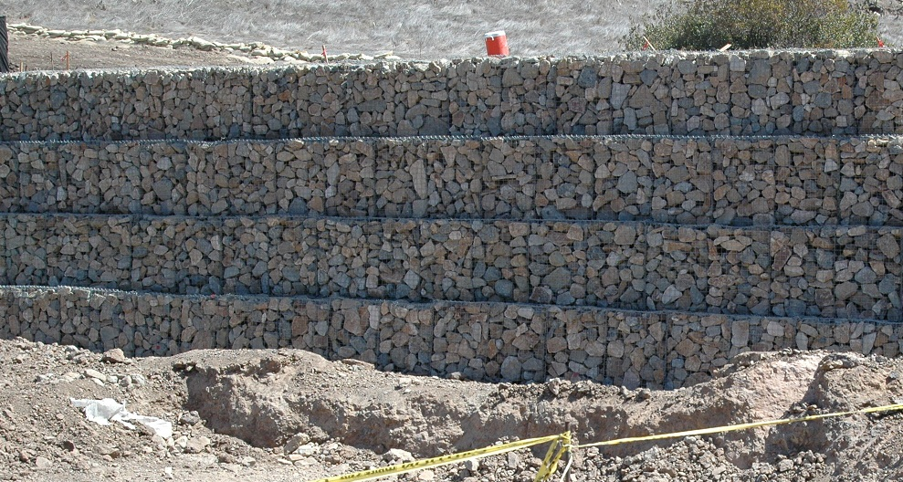 Gabion wall for slope stabilization