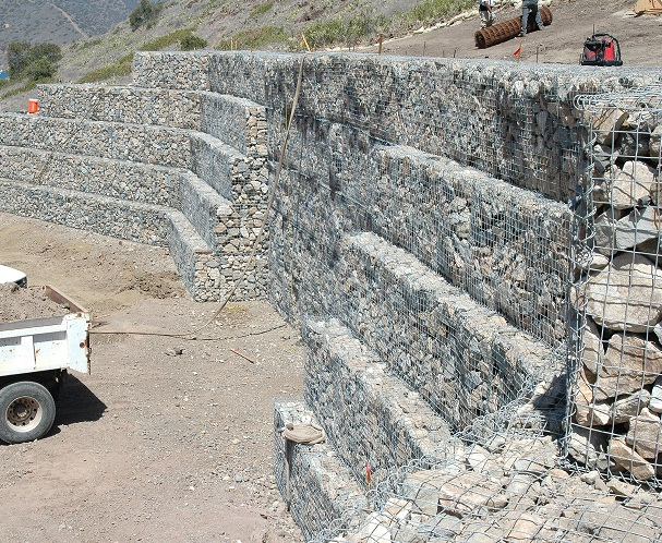 gabion baskets tower high to form wall
