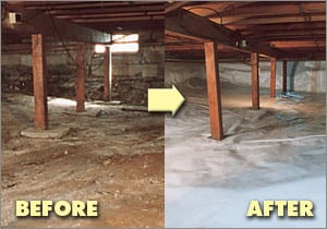 Crawl space encapsulation for Wood crawl space foundation